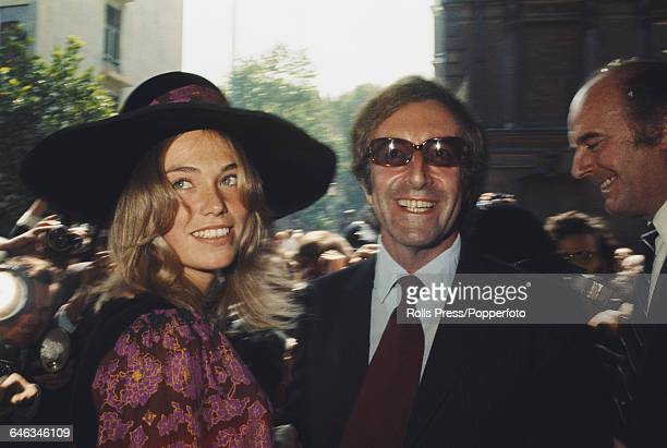 English actor and comedian Peter Sellers and model Miranda Quarry pictured together at Caxton Hall in Westminster London on their wedding day 24th...