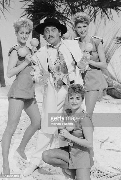 English actor and comedian Ronnie Barker in costume as pop singer Kid Creole in a musical sketch on the BBC TV comedy show 'The Two Ronnies' London...