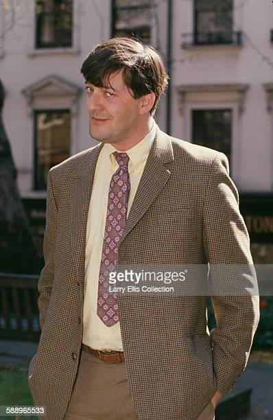 English actor and comedian Stephen Fry, circa 1995.