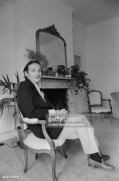 English actor and DJ Gerald Harper pictured sitting in a chair in London on 9th October 1979