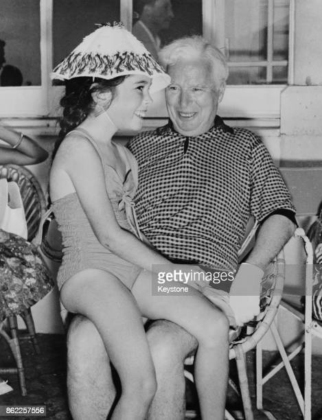English actor and filmmaker Charlie Chaplin with his daughter Josephine during a summer vacation at their villa in SaintJeanCap Ferrat southeastern...