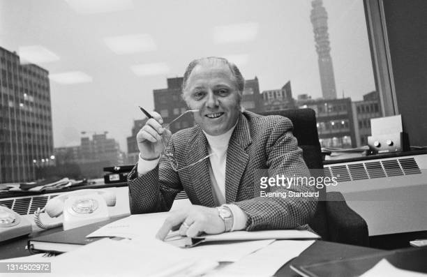 English actor and filmmaker Richard Attenborough in his office at Capital Radio, London, UK, 27th December 1973. He was the first person to present...