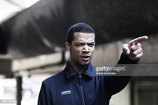 English actor and musician Raleigh Ritchie , portrait, Barbican, London, United Kingdom, 18th July 2014.
