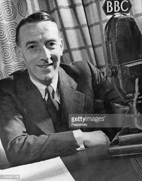 English actor and radio presenter Wilfred Pickles at his BBC microphone Broadcasting House London 25th November 1941