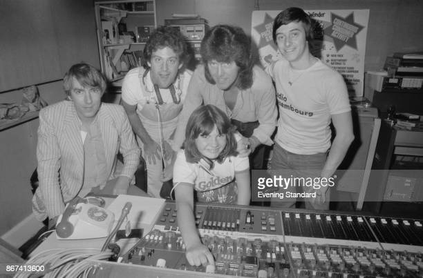 English actor and satirist Peter Cook in the Radio Luxembourg recording studio with Disc Jockey Rob Jones London UK