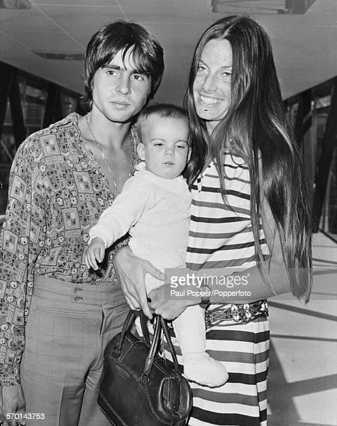 English actor and singer Davy Jones of the band 'The Monkees' pictured with his wife Dixie Linda Haines and daughter Talia arriving in London from...