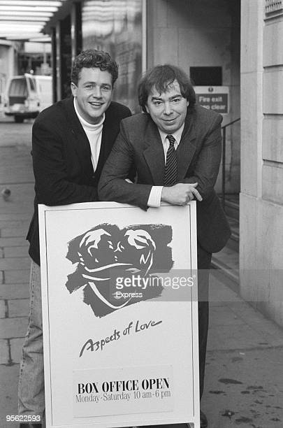 English actor and singer Michael Ball with composer Andrew Lloyd Webber, 20th December 1988. Ball is starring as Alex in Lloyd Webber's musical...