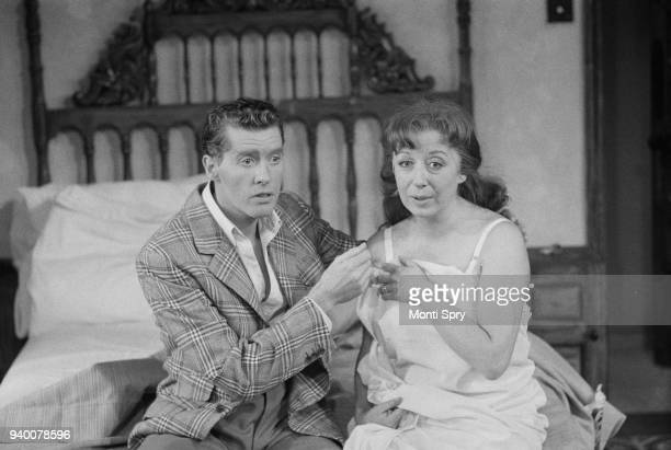 English actor and singer Michael Crawford and actress Frances Cuka during a dress rehearsal for the new comedy 'Same Time Next Year' at the Prince of...