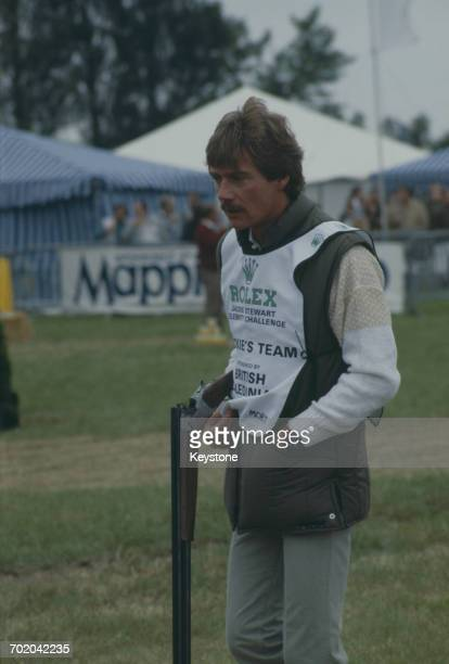 English actor Anthony Andrews at the Jackie Stewart Rolex Celebrity Challenge for clay pigeon shooting in Wales July 1984