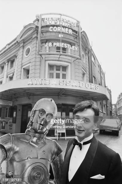 English actor Anthony Daniels with an hardcover of C3PO outside The Ambassadors Theatre in London UK 12th December 1980