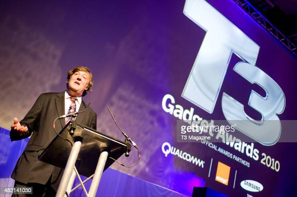 English actor author and television presenter Stephen Fry photographed on stage at the 2010 T3 Gadget Awards in London on October 11 2010