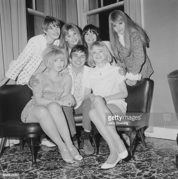 English actor Barry Evans celebrating his birthday with costars in comedy film 'Here We Go Round the Mulberry Bush' Vanessa Howard Sheila White...
