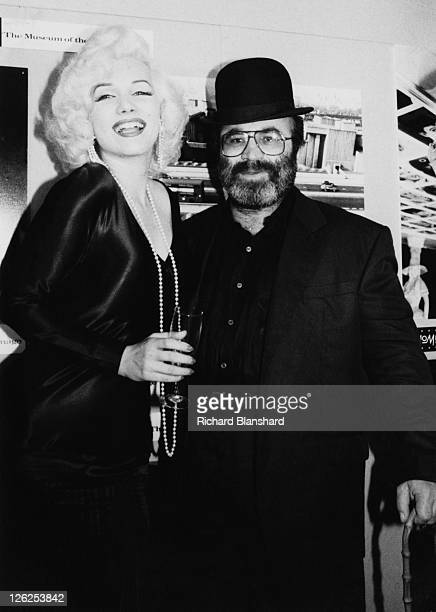 English actor Bob Hoskins opens the British Pavilion of Momi the Museum of the Moving Image in the company of a Marilyn Monroe lookalike circa 1988...