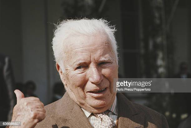 English actor Charlie Chaplin pictured at home following his 80th birthday celebrations in the town of Vevey beside Lake Geneva in Switzerland in May...