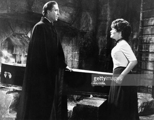 English actor Christopher Lee and actress Barbara Ewing in the film 'Dracula Has Risen From The Grave' 1968