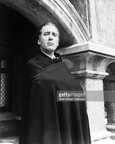 English actor Christopher Lee in one of his roles as Count Dracula circa 1965