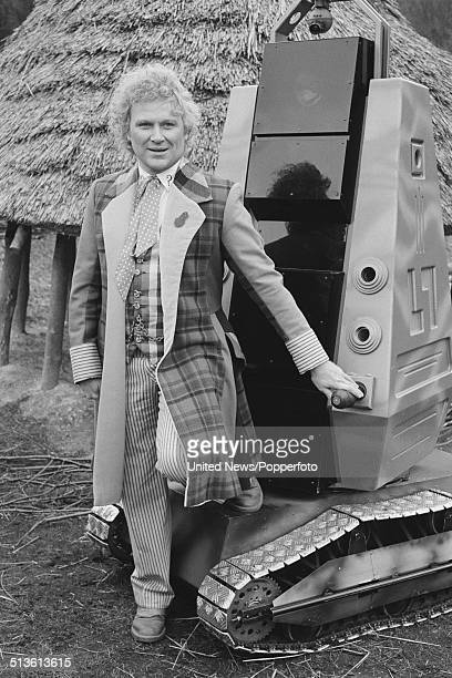 English actor Colin Baker posed in costume as the Doctor on the set of the BBC television series Doctor Who on 10th April 1986