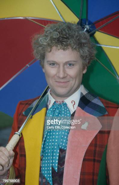 English actor Colin Baker pictured in character as The Doctor on location during filming of the BBC television science fiction series Doctor Who in...