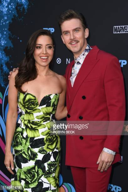English actor Dan Stevens and US actress Aubrey Plaza arrive to attend the Los Angeles premiere of FX's Legion Season 3 at the Arclight in Hollywood...
