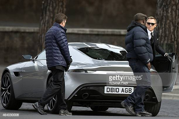 English actor Daniel Craig gets off a car during the shooting of scenes for the 24th James Bond movie 'Spectre' in Rome on February 21 2015 The 24th...