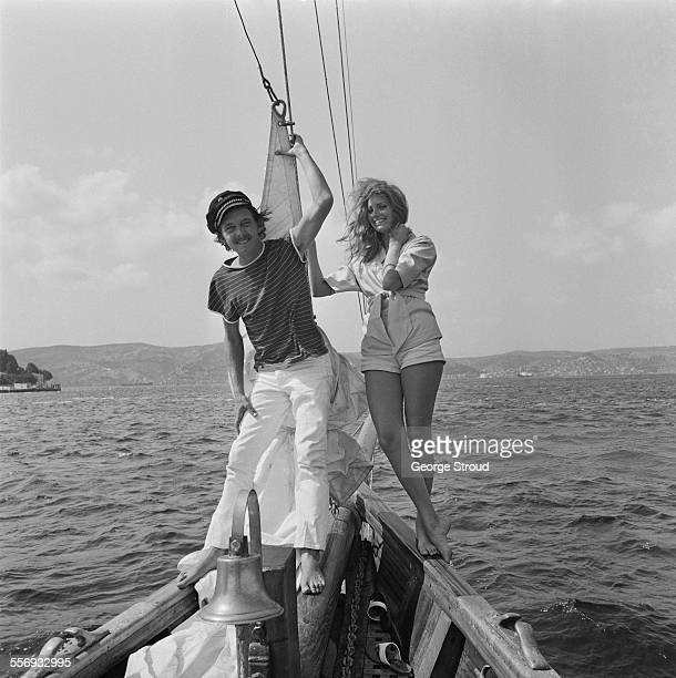 English actor David Hemmings and his girlfriend American actress Gayle Hunnicutt relaxing on a yacht in Istanbul Turkey 28th July 1967