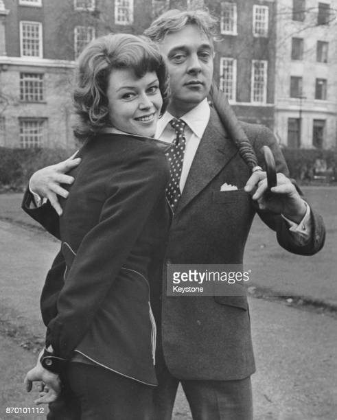 English actor David Hemmings with actress Gabrielle Drake his costar in the new stage musical 'Jeeves' outside Her Majesty's Theatre in London 12th...