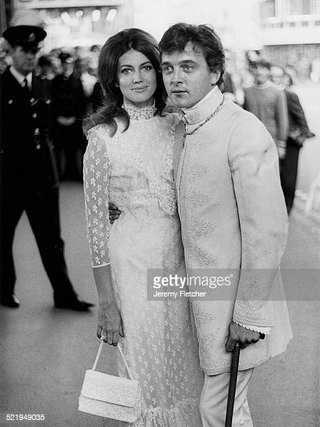 English actor David Hemmings with his wife American actress Gayle Hunnicutt at a London premiere 1968