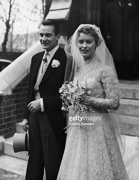 English actor Denholm Elliott marries actress Virginia McKenna at Holy Trinity Brompton in London, March 1954.