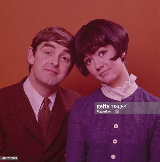English actor Derek Nimmo pictured with actress Amanda Barrie on the set of the television series 'Comedy Tonight' in 1968