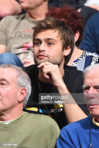 English Actor Douglas Booth attends the Los Angeles Lakers game against the LA Clippers on January 31 2019 at STAPLES Center in Los Angeles...
