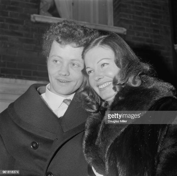 English actor Dudley Sutton after his wedding to actress Marjorie Steele the exwife of American millionaire Huntingdon Hartford at Kensington...