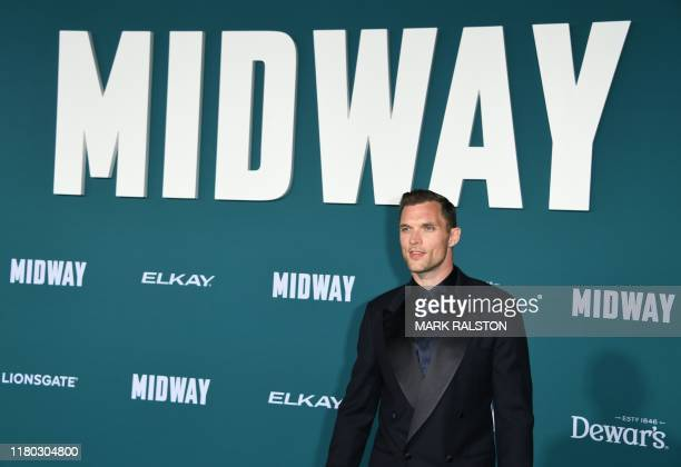 English actor Ed Skrein arrives for the premiere of Lionsgates' Midway at the Regency Village Theatre in Westwood California on November 5 2019