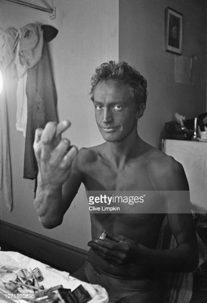 English actor Edward Petherbridge applies 'blackface' makeup for a role at the Old Vic in London 11th May 1966