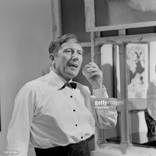 English actor Eric Barker pictured in character as Mr Lovegrove during filming of the episode 'The Ubiquitous Mr Lovegrove' from the ITC television...