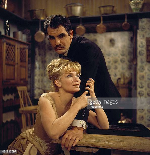 1968 English actor Gary Raymond pictured with Australian actress Diane Cilento in a scene from the television drama 'Tempo Miss Julie from...