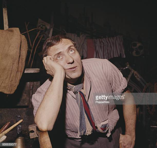 English actor Harry H Corbett pictured in character as Harold Steptoe on the set of the British television sitcom Steptoe and Son in 1962