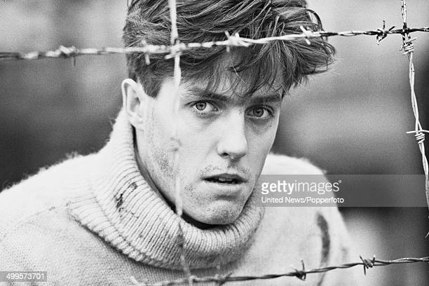 English actor Hugh Grant pictured in character as 'Peter Baines' on the set of the television film 'Jenny's War' on 8th November 1984
