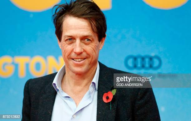 English actor Hugh Grant poses during a red carpet event for the German premiere of the movie Paddington 2 in Berlin on November 12 2017 / AFP PHOTO...