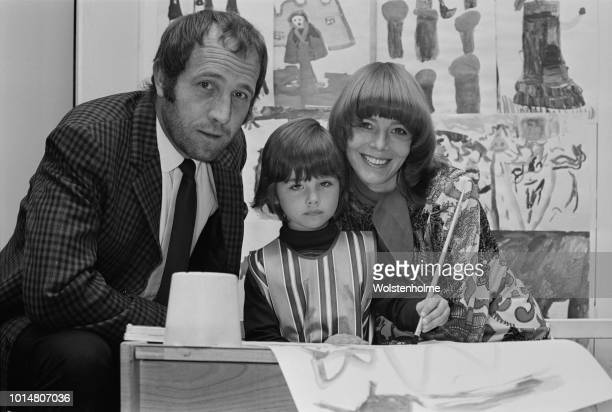 English actor Ian Hendry and English actress Janet Munro with their daughter Sally at an art competition held at Harrods London UK 13th August 1969