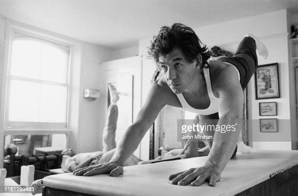 English actor Ian McKellen training inside a flat UK 21st December 1984