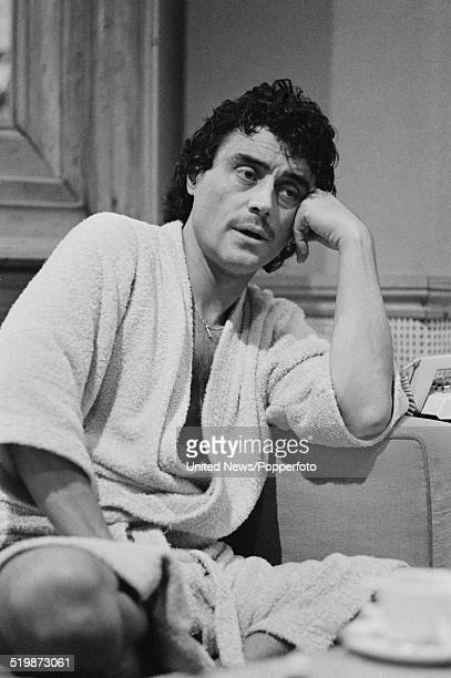 English actor Ian McShane pictured wearing a dressing gown in London on 22nd November 1979