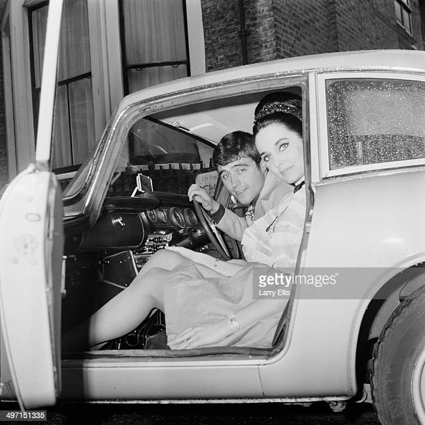 English actor Ian McShane with his second wife model Ruth Post in a car after their wedding at Kensington Registry Office London 8th June 1968