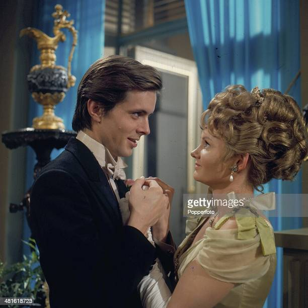 1968 English actor Ian Ogilvy pictured with actress Jennie Linden in a scene from the television play 'Lady Windermere's Fan' in 1968