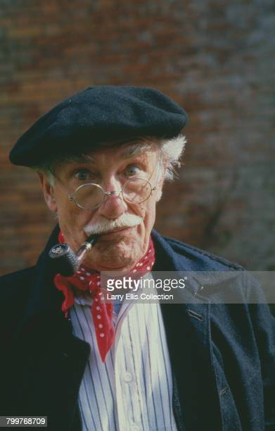 English actor Jack Haig pictured dressed in character as Monsieur Roger LeClerc from the television sitcom series 'Allo 'Allo! on location in...