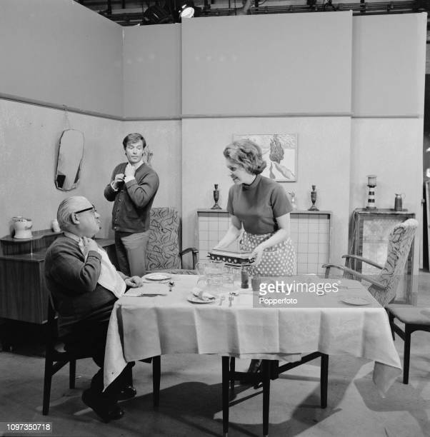 English actor Jack Howarth as Albert Tatlock pictured on left with fellow actors William Roache playing Ken Barlow and Anne Reid playing Valerie...