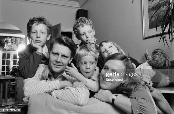 English actor James Fox at home with his wife Mary Elizabeth Piper and their children Tom Fox Robin Fox Laurence Fox and Lydia Fox UK 13th March 1985