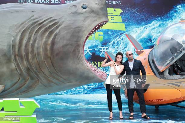 English actor Jason Statham and Chinese actress Li Bingbing attend the press conference of film 'The Meg' during the 21st Shanghai International Film...