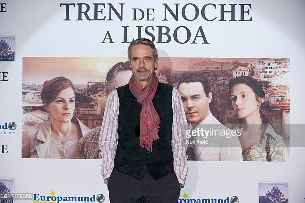 English actor Jeremy Irons poses for photographers during the photocall of his new film 'Night Train to Lisbon' in Madrid Spain on Wednesday April 9...