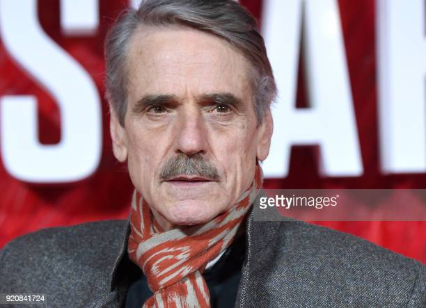 English actor Jeremy Irons poses on the red carpet on arrival to attend the European premiere of the film Red Sparrow in London on February 19 2018 /...