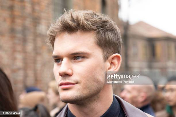 English actor Jeremy Irvine arrives at the Ferragamo show of Milan Fashion Week Woman F/W 19 Milan February 23th 2019